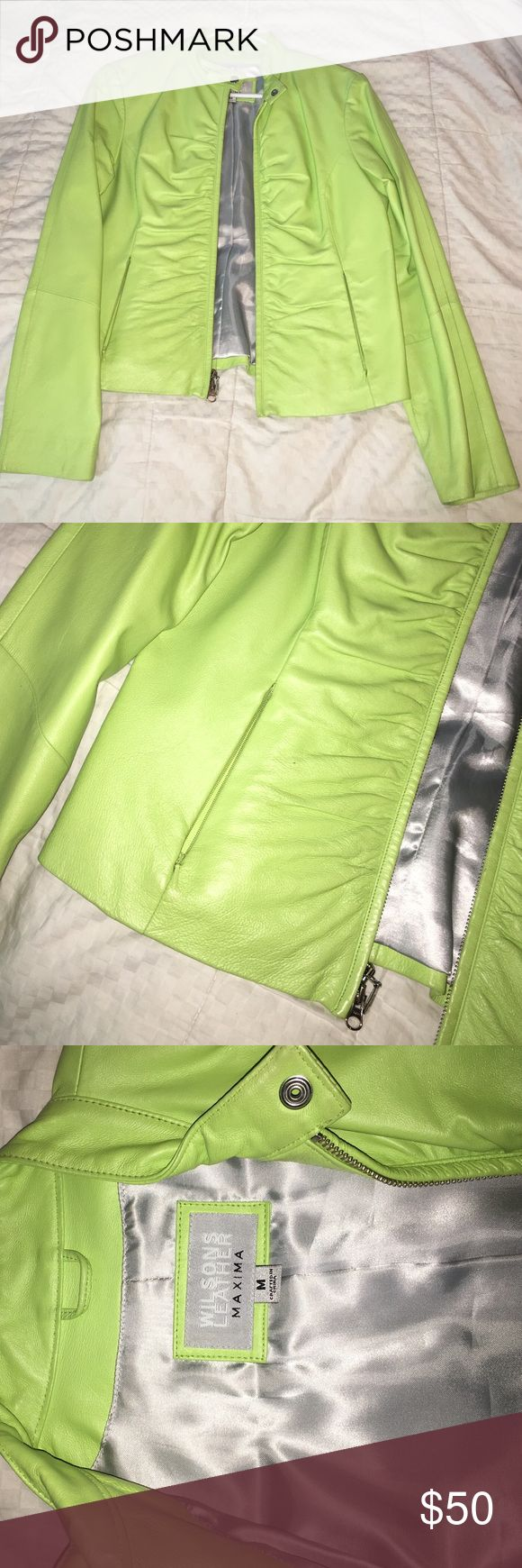 ⚜Wilson's Leather Lime Green Biker Jacket Sz M Wilsons leather brand. Leather jacket. Biker jacket length; hits at waistband. Zips up the front and snaps around the collar. Double zipper, both pull in great condition. The zipper has rouching in the front. has front pockets that zip; both still zip. Like green color. Only ever treated with proper leather cleaner. Inside liner is silver. Women's size medium. Wilsons Leather Jackets & Coats