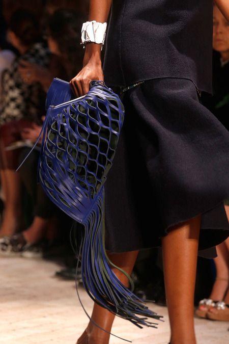 Macrame leather bag