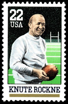 Knute Rockne - considered the greatest football coach in history with the highest winning percentage of .881