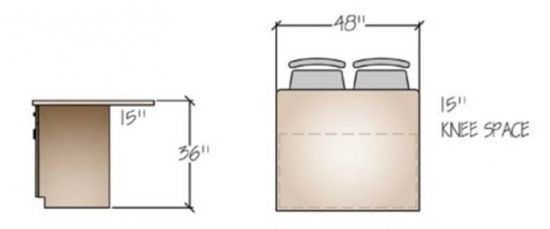 Kitchen Island Knee Space standard kitchen counter height seating - as the name implies