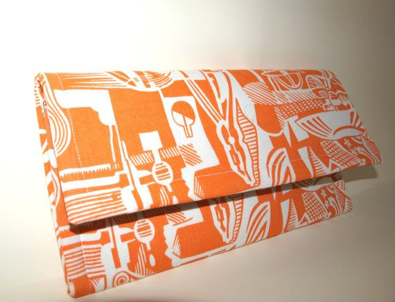 Handmade Clutch Bag / Summer Purse / Cotton Bag / Orange by Ulook, €20.00