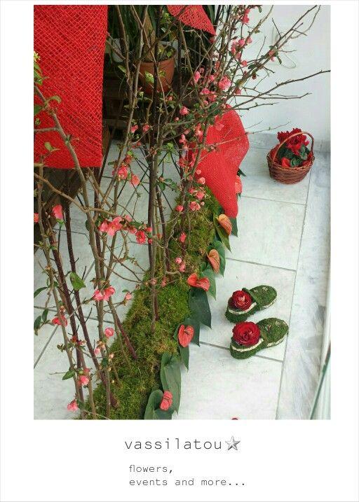 flower arrangement shop decoration for Valentine's day vassilatou. gr