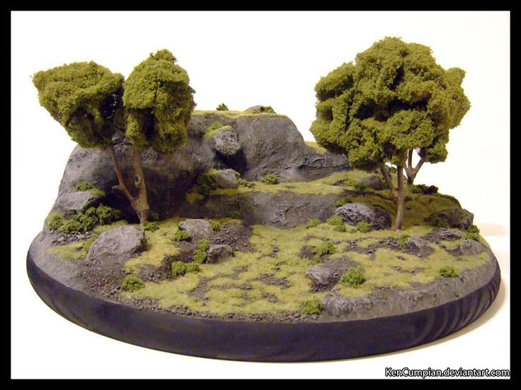 -Wargame Terrain- Just thought I'd try out a different technique with some new materials. This piece is about 11x11 inches. Terrain constructed from: Polystyrene, vinyl tile, wall patch and ar...