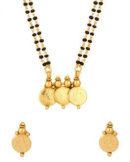Temple Theme Collection Double Chain Mangalsutra Set Red Green | Buy Designer & Fashion Mangalsutras Online