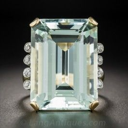 30 Carat Retro Aquamarine and Diamond Cocktail Ring