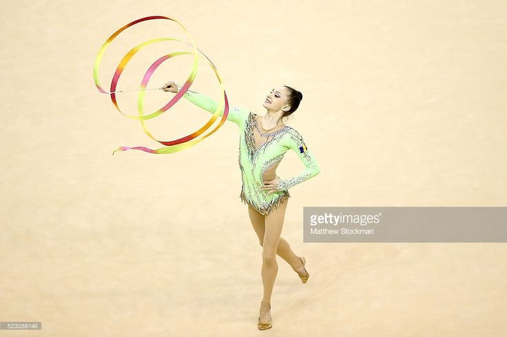 Ana Luiza Filiorianu of Romania competes during the Rhythmic Gymnastics Individual All-Around final at the Final Gymnastics Qualifier - Aquece Rio Test Event for the Rio 2016 Olympics - Day 6 at the Rio Olympic Arena on April 22, 2016 in Rio de Janeiro, Brazil.