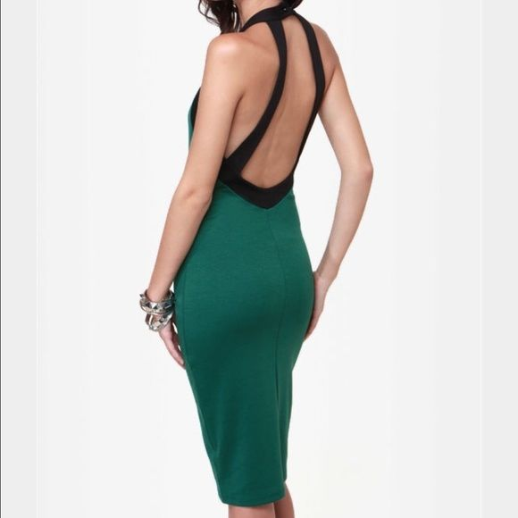 Make an offer Forest green and black Midi length dress. Slight more semi-formal attire. Backless and a high neck for a polished look. Bought specially for a dinner and never wore it again. No snags, rips or tears! Lulu's Dresses Backless