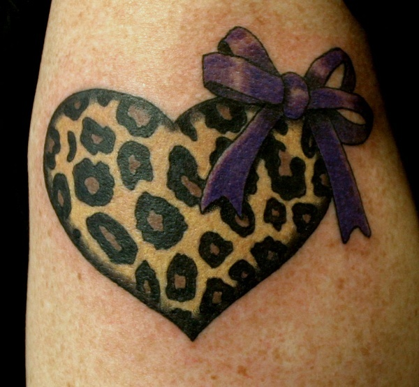 Leopard Print Heart Tattoo... I love this!!! But a blue ribbon instead of purple