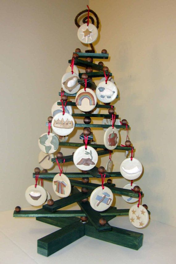 Jesse Tree Christmas Ornament Display Tree Wooden