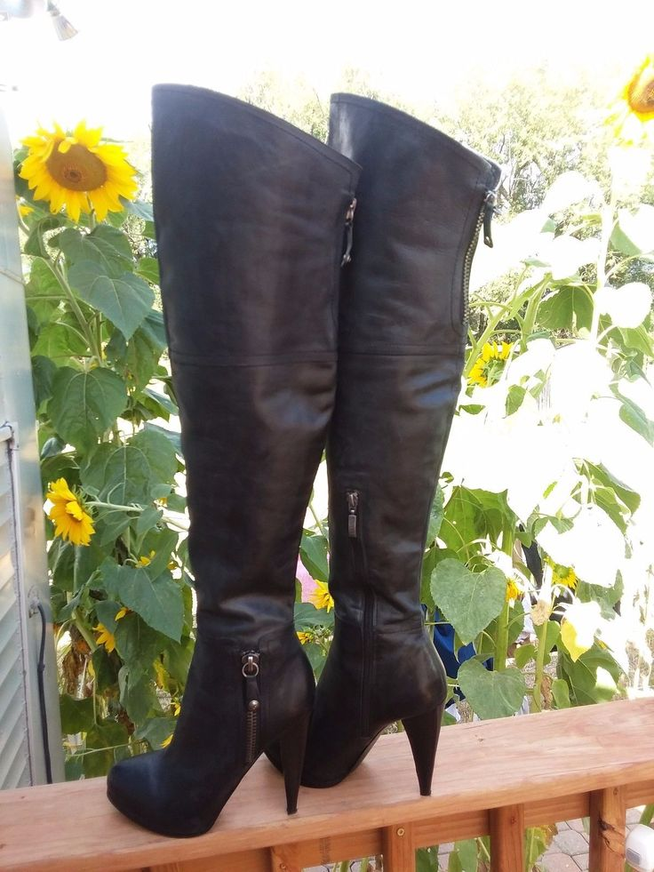 """Guess Fine Black Leather Over Knee Boots W/5"""" Heels &1"""" Platforms Sz. 9.5M 