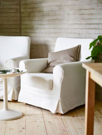 ektorp jennylund armchairs with blekinge white cotton. Black Bedroom Furniture Sets. Home Design Ideas