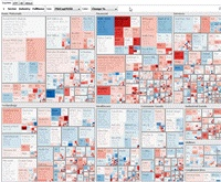 Interactive treemaps for visualizing hierarchical relationships in any large database.
