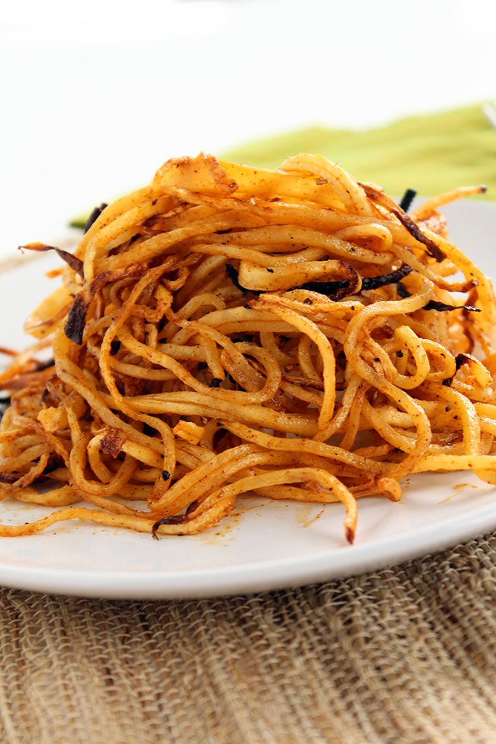 Spicy Spiralized Shoe String Jicama Fries #fries #healthy #spiralized @Ali Maffucci