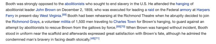 1859; Booth opposes abolitionist; is present for John Brown's execution