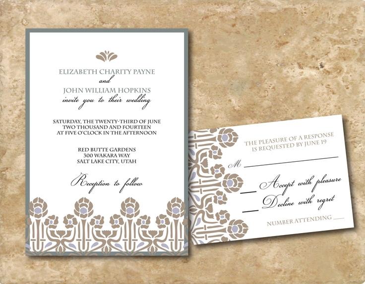 Printable Art Nouveau Wedding Birthday Occasion Invitation 15 00 Via Etsy