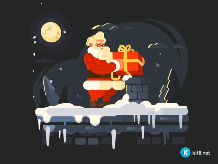 Santa on rooftop by Tigran Manukyan (kit8)  #Design Popular #Dribbble #shots