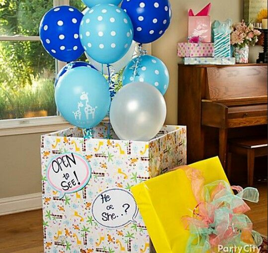 Gender Reveal ideas. Have your host fill a box with the appropriate colored balloons and open it at the shower.