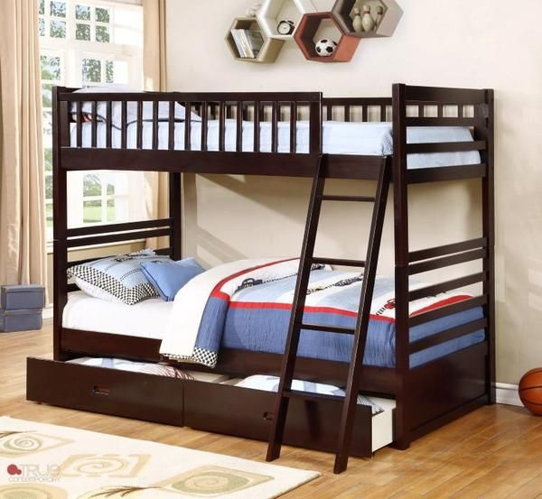 ESPRESSO TWIN OVER TWIN SOLID WOOD BUNK BED #espresso #brown #bed #kidsbed #bedroom #kidsbedroom #bunkbed #bed #furniture