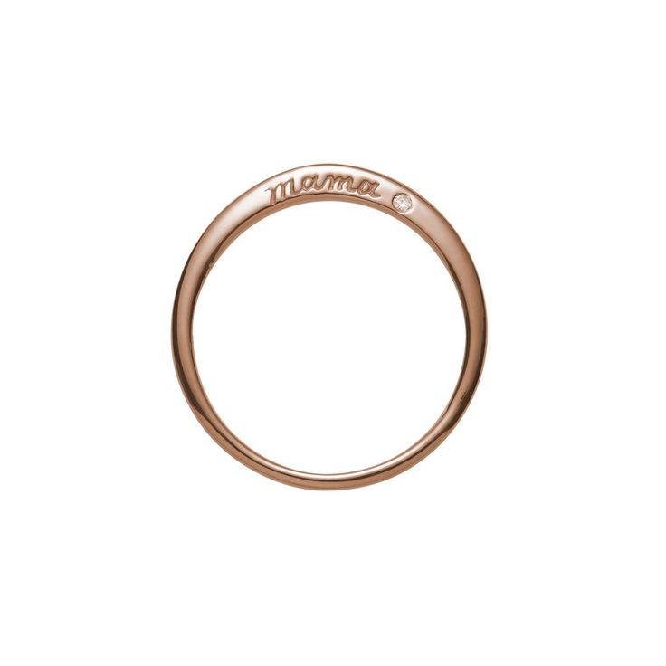 "A sweet reminder of a most enduring love. The ""Mama"" ring has one sparkling diamond set beside its simple hand-engraved sentiment. Shown here in 14k rose gold. This ring measures 2mm at its widest and"