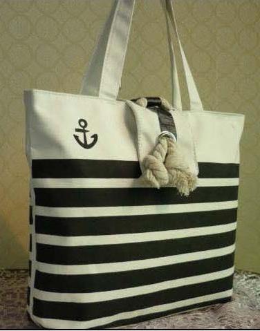 Anchor Striped Beach Bag Purse