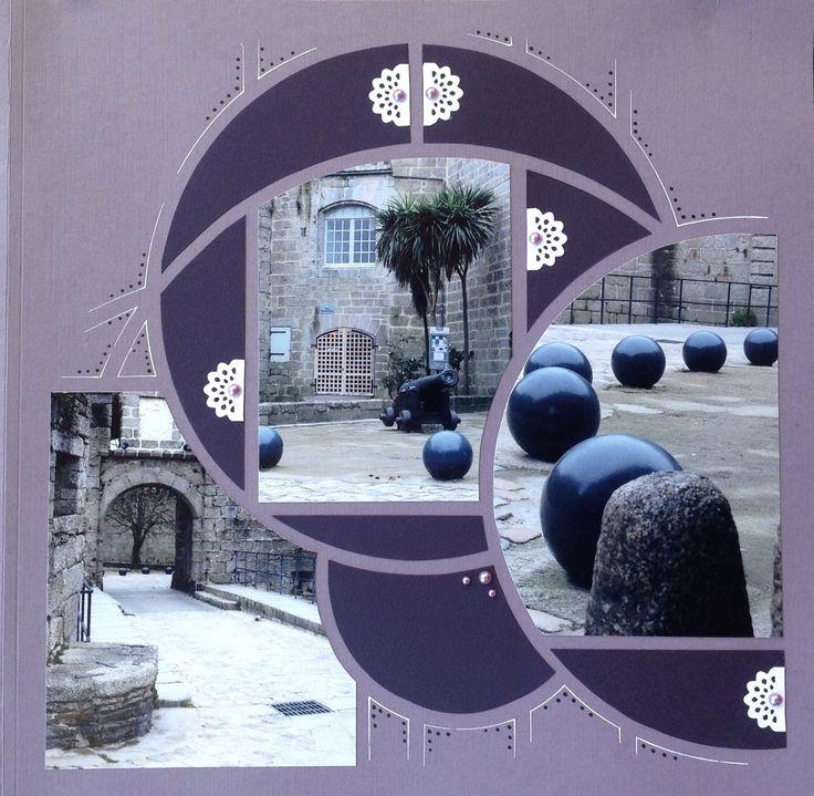 """Page 30X30 lavande, gabarit """"Orion1"""",papier de fond """"Améthyste"""", frise """"Dentelle"""", feutre blanc et violet, perle adhésive lavande..."""