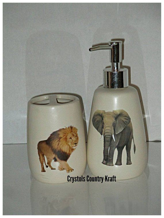 Elephant soap jar ivory jar with plastic silver dispenser printable vinyl pic
