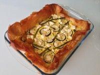 Feta cheese, zucchini and asparagus tart