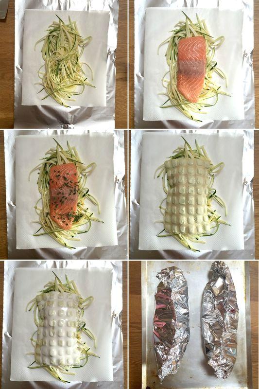 Papillotes de saumon, spaghetti de courgettes et ravioles