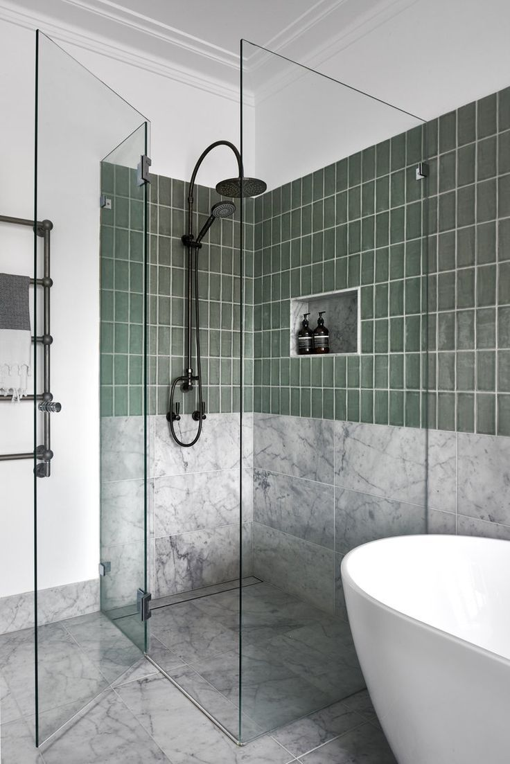 Beautiful Delicate Glass Partition Marble Tile Wall Is Artinspirationboardideas Beautiful Green Bathroom Small Bathroom Remodel Bathroom Interior Design