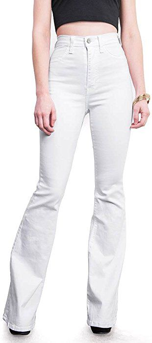 9f45aab91e5649 Vibrant Women's Juniors Bell Bottom High Waist Fitted Denim Jeans, White,  13 at Amazon Women's Jeans store