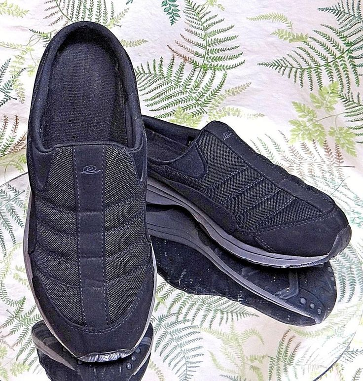 EASY SPIRIT BLACK LEATHER MULES SLIDES SLIP ONS COMFORT SHOES US WOMENS SZ 9 M #EasySpirit #Mules #Casual