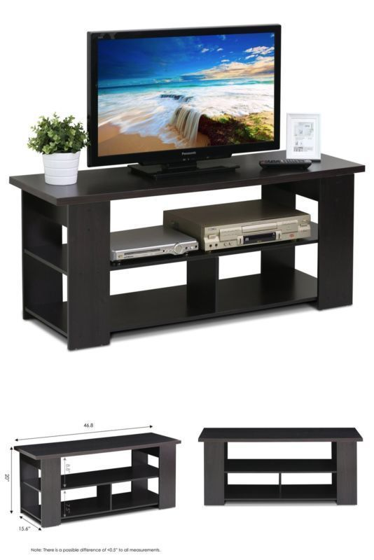 Entertainment Center Tv Stand 2 Drawers Storage Cabinet Oak Grey Wood Relax #Furinno#TV,#Stand,#Gaming,#Entertainment,#Media,#Furniture,#Home,#Theater,#Storage
