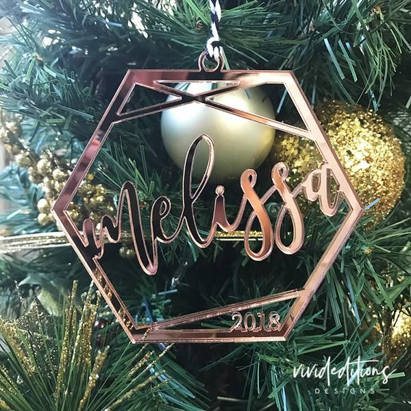Personalized Name Geometric Christmas Ornament Acrylic Christmas Ornaments Personalized Christmas Ornaments Ornaments
