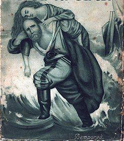 GIUSEPPE E ANITA GARIBALDI - Ilustração do italiano Giuseppe Bandi, publicada em 1889 mostrando Giuseppe Garibaldi carregando o corpo de sua mulher, Anita Garibaldi, morta por soldados papais, em 1849. Ambos são heróis tanto no Brasil quanto na Itália.