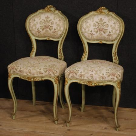 680€ Pair of lacquered and golden Venetian chairs. Visit our website www.parino.it #antiques #antiquariato #furniture #lacquer #antiquities #antiquario #chair #armchair #fauteuil #decorative #interiordesign #homedecoration #antiqueshop #antiquestore #gold #golden #lacquered