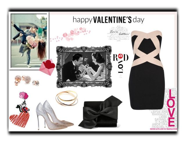 """""""Happy Valentine's Day!!!"""" by desiresinstyle on Polyvore featuring moda, LOONEY TUNES, Casadei, Victoria Beckham, Wallis, GUESS, Cartier, women's clothing, women e female"""