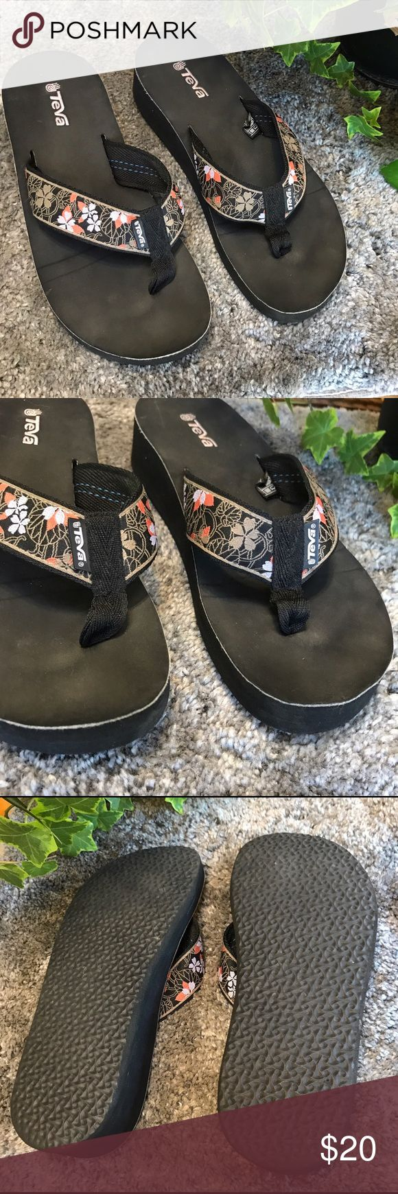 Teva Floral Strap Wedge Flip Flops Wedge Teva flip flops with floral detailed straps. In excellent used conditions with minimal signs of wear- see photos. Super cute and perfect for summer with tons of life left! Please feel free to ask questions! Teva Shoes