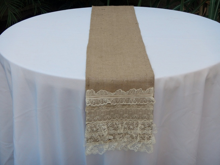 Burlap Table Runner with Layers of Lace, Boho Chic, Ready ...