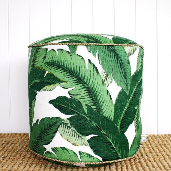 Square Fox Green Palm outdoor pouf ottoman by SquareFoxDesigns, $125.00