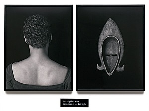 Lorna Simpson. Flipside, 1991. Two gelatin silver prints and engraved plastic plaque, diptych.