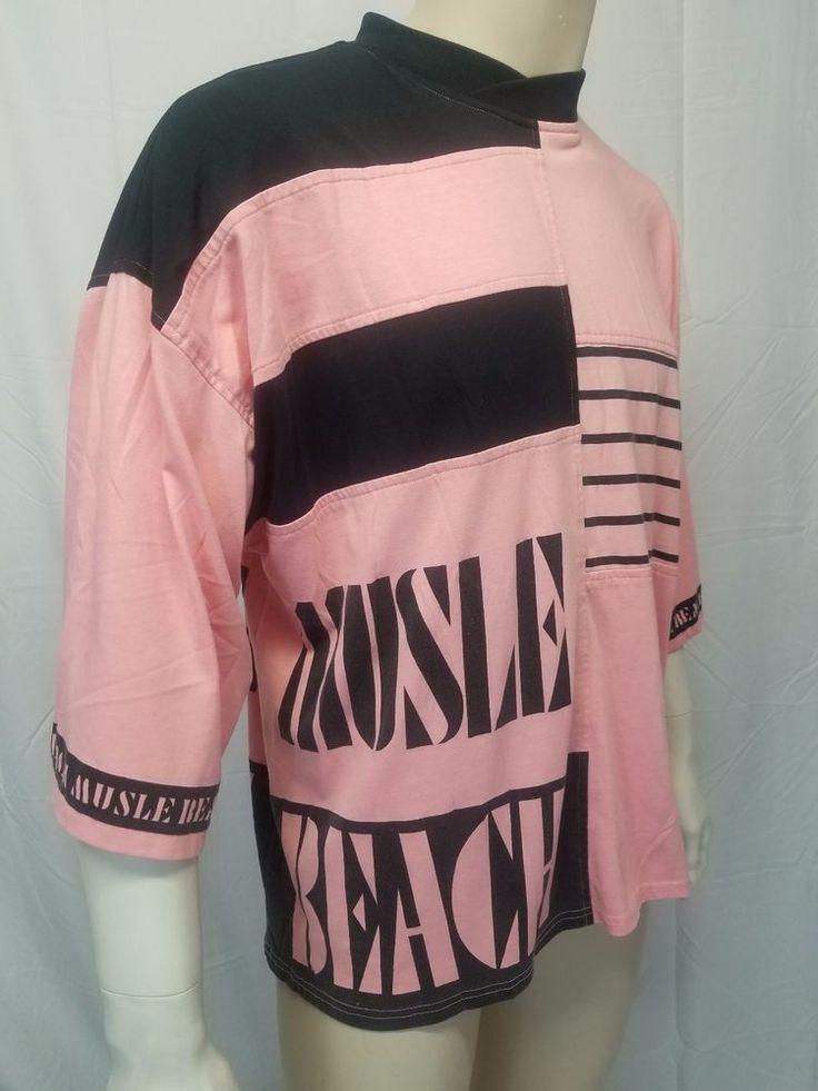 Vtg 80s MUSCLE BEACH T-shirt Pink Black Body Building Workout Tee Shirt Mens LG #Forum #GraphicTee
