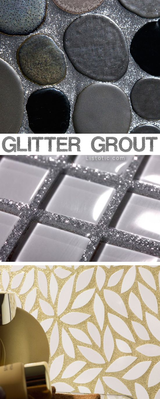 Glitter grout! LOVE!! Lots of beautiful tile ideas for kitchen back splashes, master bathrooms, small bathrooms, patios, tub surrounds, or any room of the house!