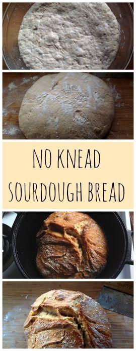 No Knead Sourdough bread ~ Half whole wheat and very easy!  www.growforagecookferment.com
