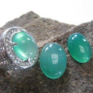 2 Pcs Chalcedony Plus Cincin Ring 8US