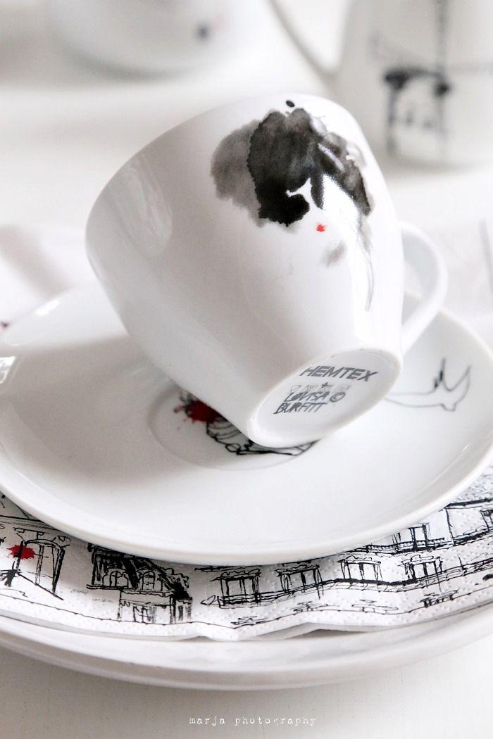 Black and white coffee cup | Paris please by Lovisa Burfitt for Hemtex