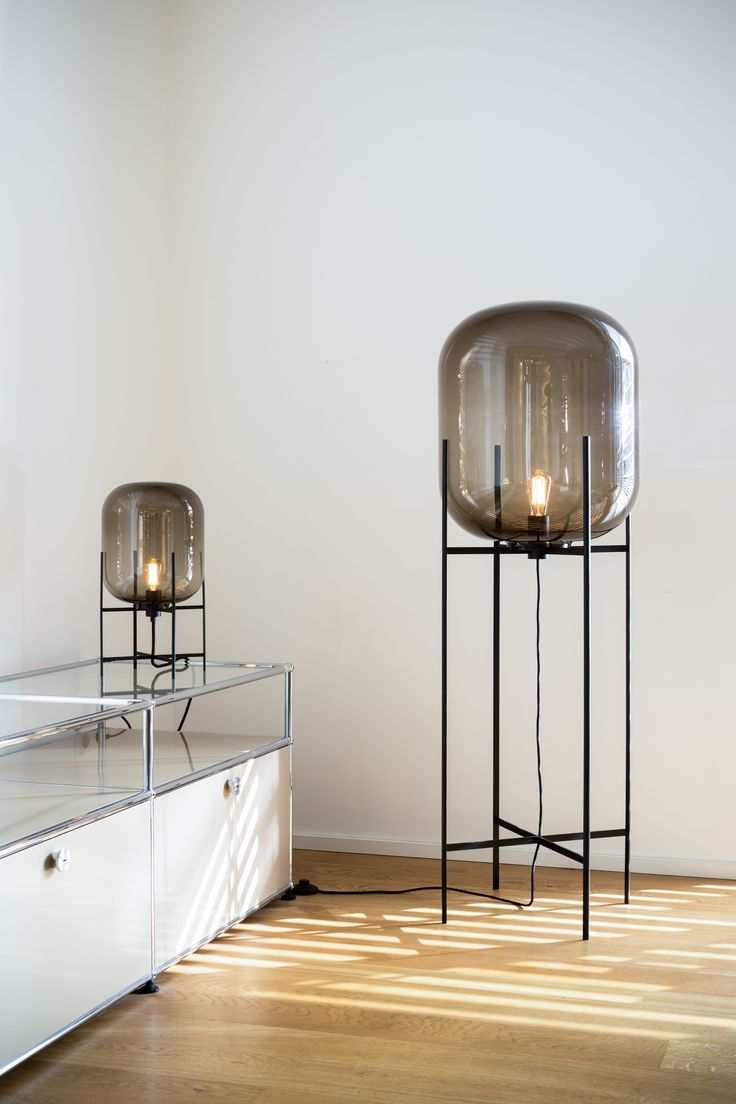 (Living Rooms Lights - 1 Floor & 1 Table) Table lamp - Oda Small by Sebastian Herkner for pulpo - Materials & colors : smoky grey glass & black powder coated steel / Floor lamp - Oda Big by Sebastian Herkner for pulpo - Materials & colors : smoky grey glass & black powder coated steel