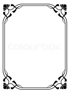 Art nouveau ornamental decorative frame stock photo