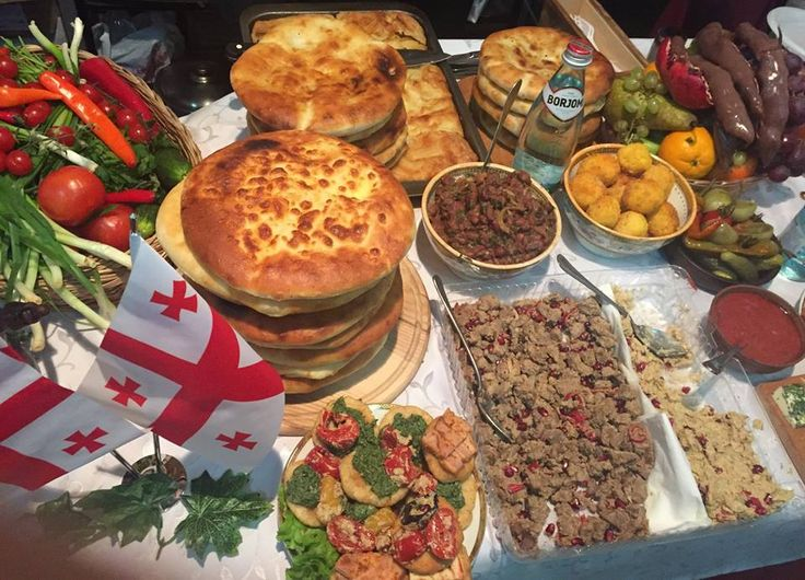 """Georgian Traditional """"Sufra"""". Khachapuri (Cheesebread) Lobiani (bread with beans) kubdari (bread with meat) Lobio (beans) Kuchmachi (hearts liver lungs) eggplant with walnuts and many more. [960x692]"""