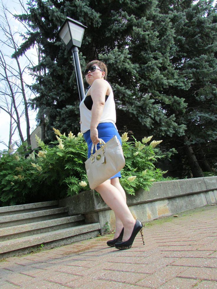 Smart Set pencil skirt, Aritzia low armhole tank, Coach pumps and purse