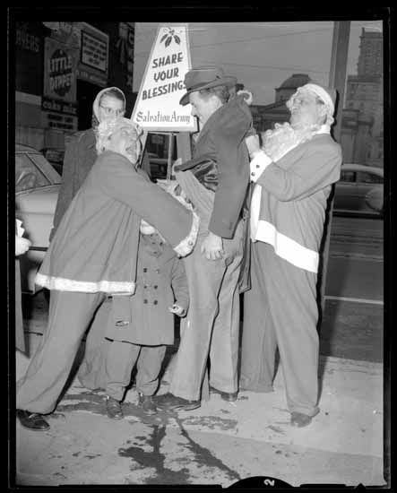 Salvation Army cheer pot novelty picture, Dec. 1950s. (Photo via Vancouver Public Library)